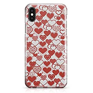 iPhone X Case Valentines Day Couples Love Heart Pattern Durable Sleek Look Wrap Around iPhone 10 Case 36
