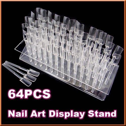 Nail Art Tips 64 Stick Display Stand Rack Practice Tool