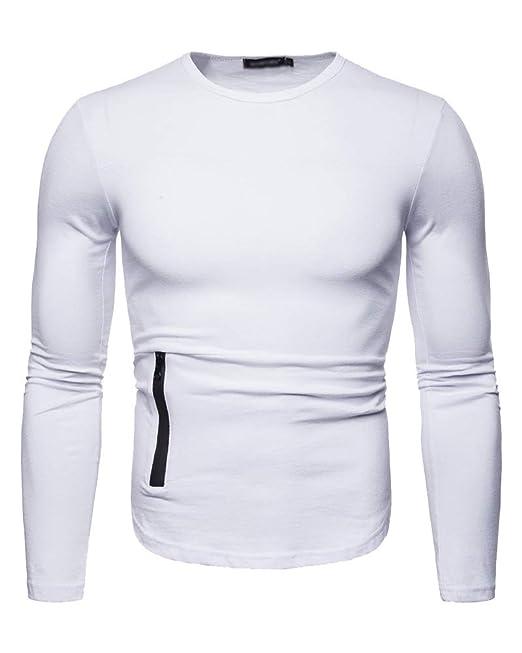 Hombre Cuello Redondo Camiseta Skinny Fitness Deportes Manga Larga T-Shirt: Amazon.es: Ropa y accesorios