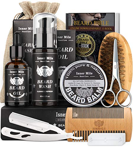 Isner Mile Beard Kit for Men, Grooming & Trimming Tool Complete Set with Shampoo Wash, Beard Care Growth Oil, Balm…