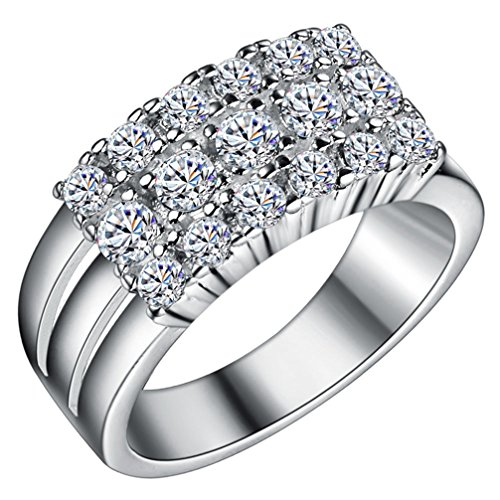 FENDINA Womens Silver Plated Gorgeous Triple Row CZ Crystal Promise Engagement Wedding Ring for Bridal Eternity Anniversary Cocktail Band Ring