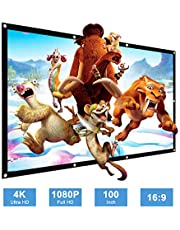 Projector Screen, Samzuy 100 inch 4K HD 16:9 Foldable Anti-Crease Wrinkle-Free Portable Projection Movie Screen for Home Theater Outdoor Indoor