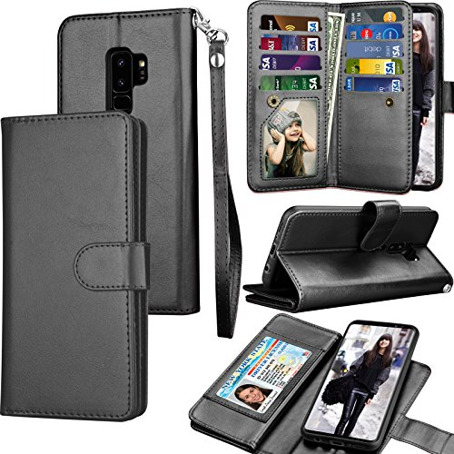 Tekcoo Galaxy S9 Plus Case, Tekcoo S9 Plus Wallet Case/Samsung Galaxy S9+ PU Leather Case, Luxury Credit Card Slots Holder Carrying Folio Flip Cover [Detachable Magnetic Hard Case] Kickstand - Black