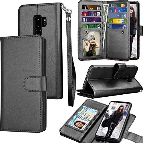 Tekcoo Galaxy S9 Plus Case, Tekcoo S9 Plus Wallet Case/Samsung Galaxy S9+ PU Leather Case, Luxury Credit Card Slots Holder Carrying Folio Flip Cover [Detachable Magnetic Hard Case] Kickstand - - Cargo Raisin