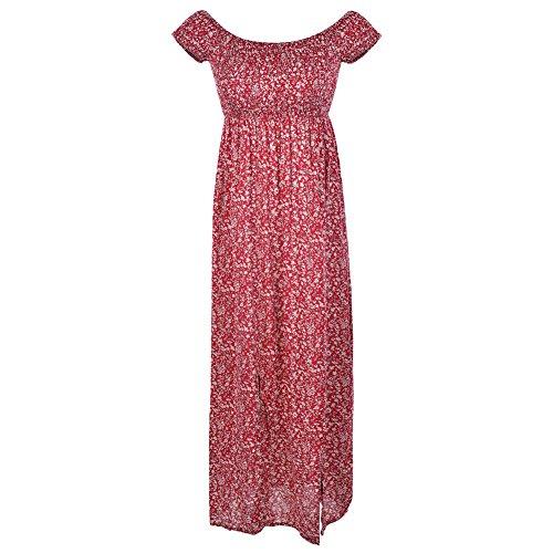 Stampa Maxi Alla a Rosso Vestito Nuziale Fitibest Cerimonia Moda Floreale Maniche da Moda Affascinante con Corte Alla Abito I8vxw4qx