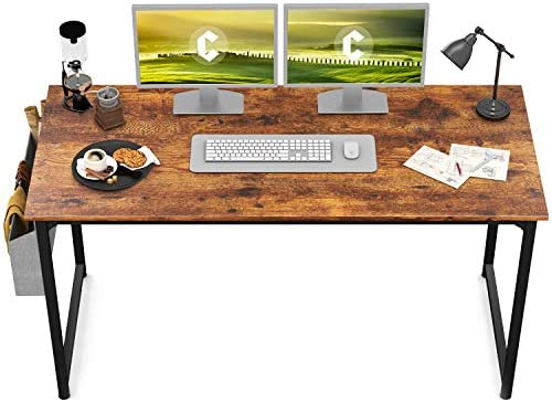 "CubiCubi Study Computer Desk 63"" Home Office Writing Small Desk, Modern Simple Style PC Table, Black Metal Frame, Rustic Brown"
