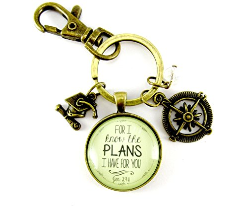 Best Costume Ideas 2016 (Graduate Charm Keychain Gift For I Know the Plans I Have Jeremiah 29 11 Glass Keyring Teen Christian Jewelry Compass Graduation Tassel Cap Charm, Bead)