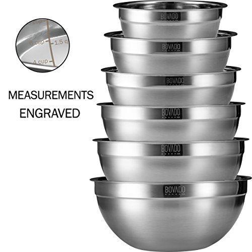 (Stainless Steel Mixing Bowls Set of 6 - .75, 1.5, 2, 3.5, 5, and 7 Qt.- Nesting and Stackable with Wide Rim and Brushed Finish - by Bovado USA)