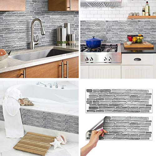 BEAUSTILE Decorative Tile Stickers Peel and Stick Backsplash Fire Retardant Tile Sheet 2 Rough Stone