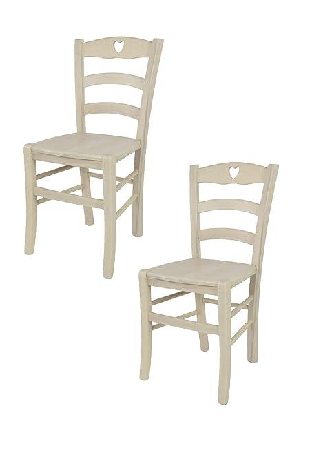 Tommychairs Set 2 Sedie Classiche Cuore 38 per Cucina, Bar e Sala da  Pranzo, con Robusta Struttura Color anilina Bianca e Seduta in Legno  massello
