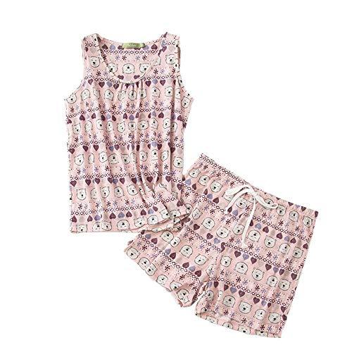 PNAEONG Women Cotton Sleepwear Short Sets Tank&Short Pajamas Sets XTSY208-Pink Bear-XL
