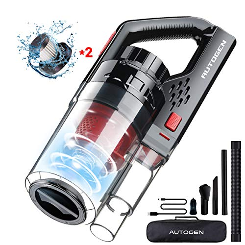 Handheld Vacuum,Autogen 150W 7KPa Suction Handheld Vacuum Cordless, Cyclonic Vacuum Cleaner – Upgraded Version, Rechargeable 2500mAh Lithium Battery,Wet Dry Vac Pet Hair,Dust for Car&Dry Use (Black)