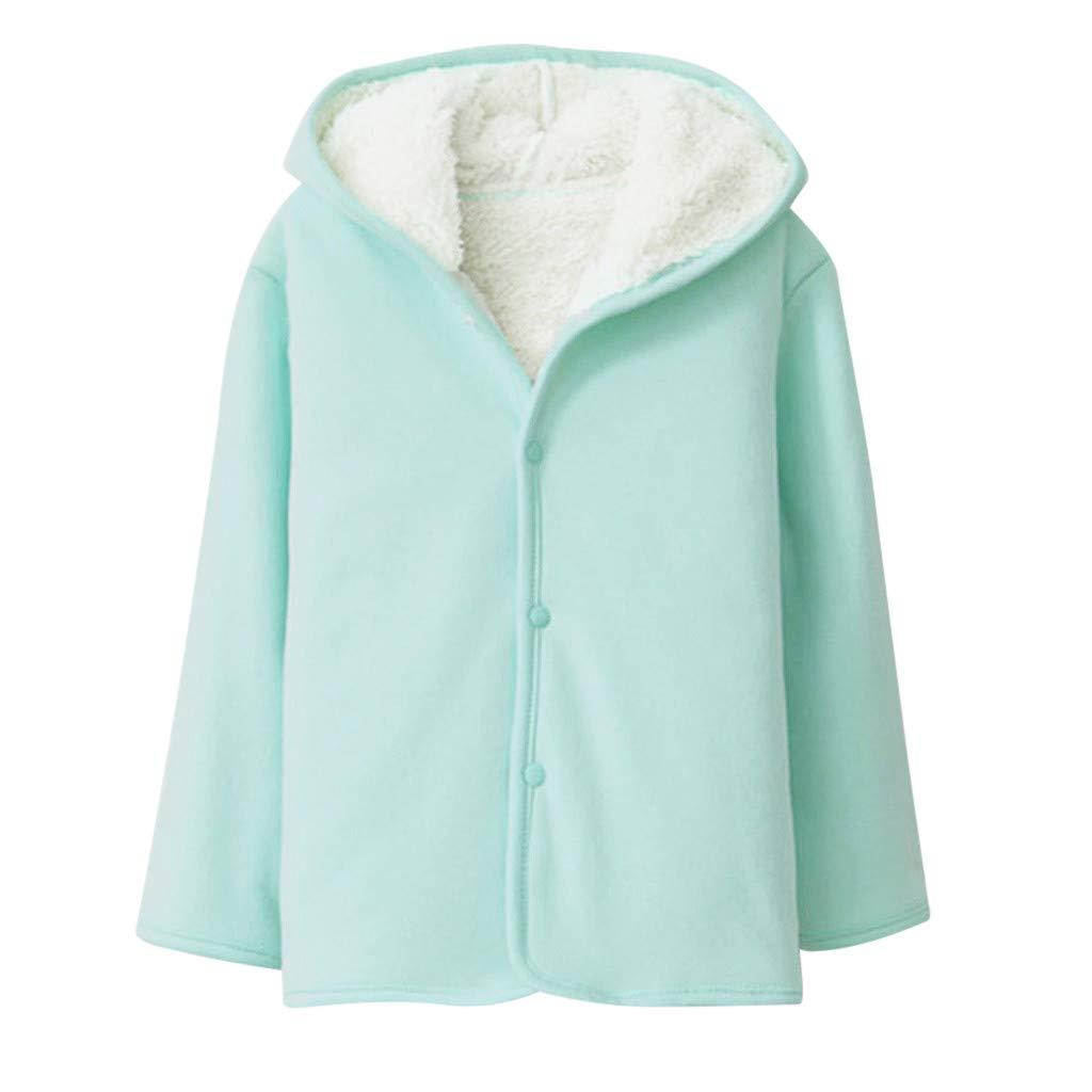 kaiCran Toddler Baby Girls Fleece Lined Coat Long Sleeve Button Down Solid Jacket Outwear