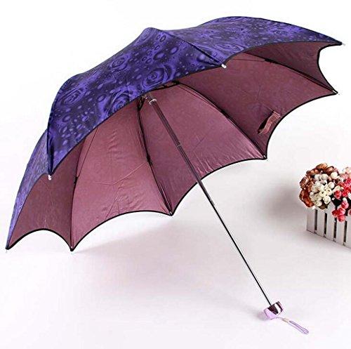 (Sucastle Folding, creative, rose, umbrella, sunny, dual use Sucastle:Colour:Deep purple rose:size:Solitary; 110cm: diameter; 66cm)