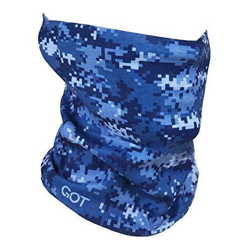 Fishing Mask Camo Headwear - Works as Fishing Sun Mask, Neck Gaiter, Headband, Bandana, Balaclava - Multifunctional Breathable Seamless Microfiber (Digi Navy)
