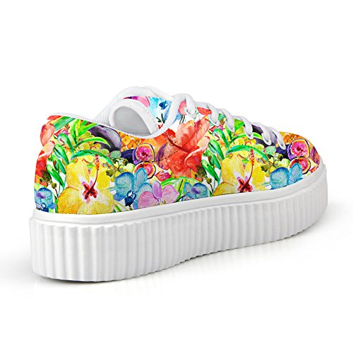 Abrazos Idea Moda Floral Creepers Mujer Plataforma Zapatillas Skate Zapatos Flower5