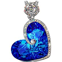 """J.NINA """"Aphrodite"""" Rose Heart Women Necklace 17''+2'', Made with Swarovski Crystals, Engraved with """"I love you"""",Jewelry with a Luxury Gift Box for Woman"""