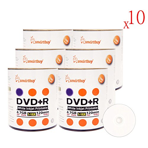 Smartbuy 4.7gb/120min 16x DVD+R White Inkjet Hub Printable Blank Media Recordable Disc (6000-Disc) by Smartbuy