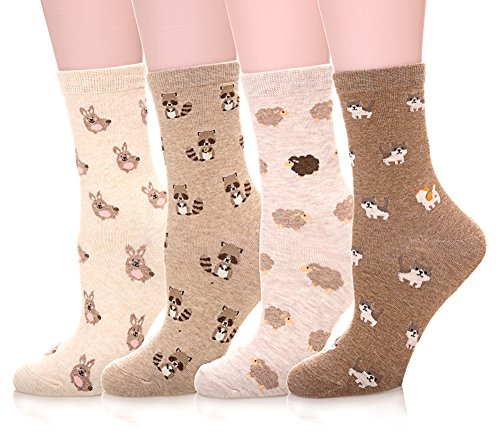 Color City Womens Cute Animal Pattern Socks - Funny Soft Warm Cotton Crew Socks 4 (Animal Pattern)