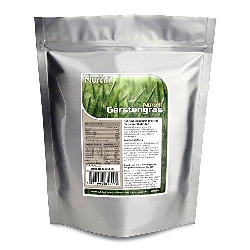 Nurafit Gerstengraspulver (vegan) - 500g / 0.5kg zertifizierte Spitzenqualität - Super Nahrungsergänzungsmittel für gesunde Getränke und leckere Diät Shakes
