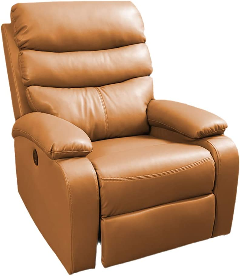 LIU Home Power Recliner Chair Air Leather - Overstuffed Electric Faux Leather Recliner with USB Charge Port - Home Theater Seating