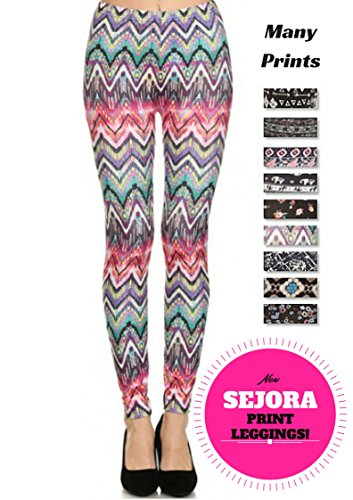 PL15BP011 SEJORA Printed Leggings Full Length Patterned with Designs
