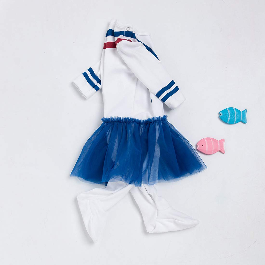 FCQNY Toddler Baby Girls Sailor Nautical Cotton Footed Rompers Tulle Jumpsuit+Hat