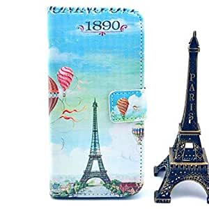 YULIN Balloon Eiffel Tower Pattern PU Leather Cover with Stand and Card Slot for iPhone 6