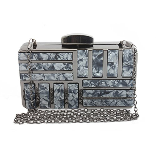 1 Girl's Fashion Woman Evening Patch Evening Marble Bag Black Clutch Flada Clutch Acrylic Bag Shoulder HvBq6x