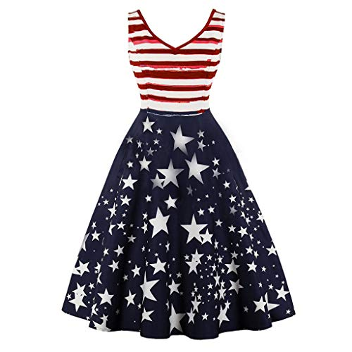 JJLIKER Women's 4th July American Flag Stars Stripes Print Casual Swing Maxi Dress Sleeveless Empire Waist Midi Dresses