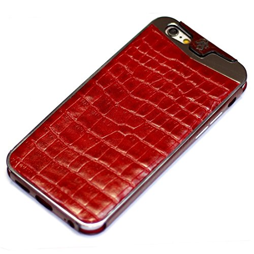 Fine Crocodile Alligator Lettered Pattern Leather Metal Frame Protective Case Handmade for Apple iPhone 8 Plus 7 Plus iPhone 6 6S Plus Red by BestSkin - VertuiPhoneiPad Leather cases