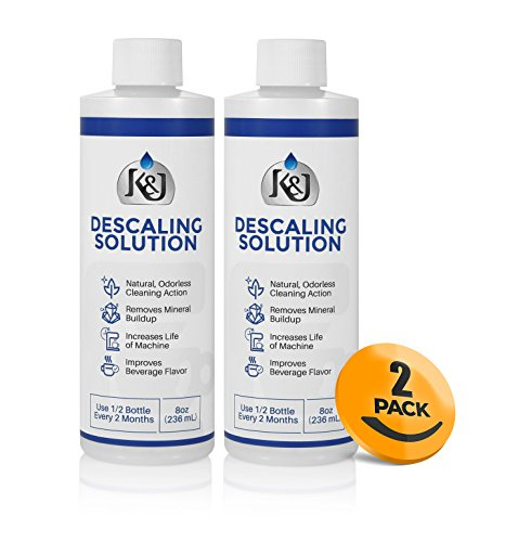 2-Pack Universal Descaling Solution – Descaler for Keurig, Cuisinart, Breville, Kitchenaid, Nespresso, Delonghi, Krups, and all other coffee brewers – by K&J