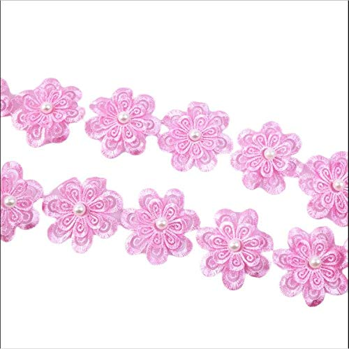 Lace Trim Pearl Embroidery Sewing Fabric Flower Size:4.54.5cm Fiber Garment Accessories 1 Yards ()