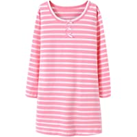 Camisón De Algodón para Niña Transpirable Cuello Redondo Pijama con Mangas Larga Lindo Ropa De Dormir