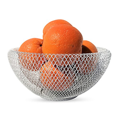 WHW Whole House Worlds Iconic Modern Wire Mesh Fruit Bowl, Museum Style, Medium, 9 1/2