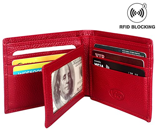 Aprince Slim RFID Blocking Unisex Men's Leather Wallet w/ Gift Box - (Red Mens Wallet)