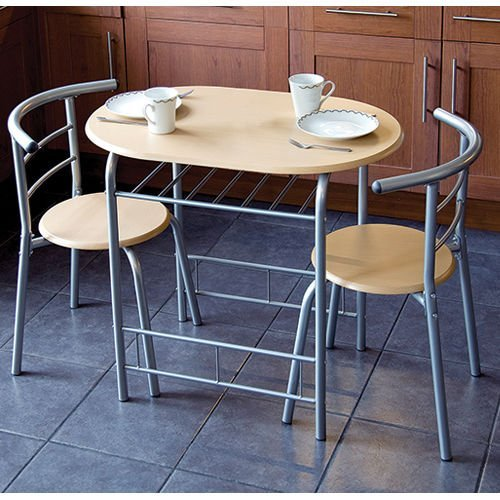 New 3pc Dining Set 2 Chairs and Table Metal Frame Wooden Seat Beech Furniture Amazon.co.uk Kitchen u0026 Home & New 3pc Dining Set 2 Chairs and Table Metal Frame Wooden Seat Beech ...
