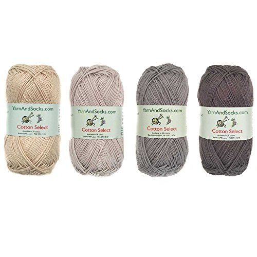 Cotton Select Sport Weight Yarn Color Palette Pack - 100% Fine Cotton - Shades of Gray - 4 Skeins