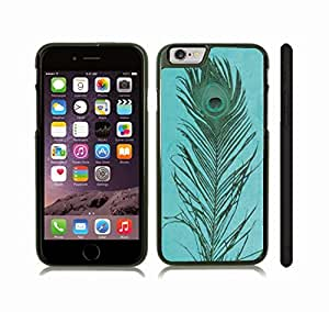 iStar Cases? iPhone 6 Case with Peacock Tail Feather on Baby Blue Background, Photo , Snap-on Cover, Hard Carrying Case (Black)