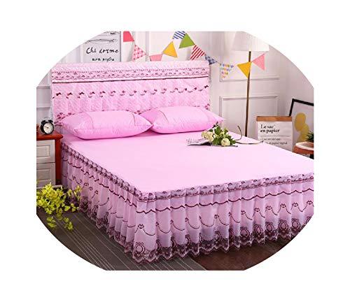 Bedspread Purple Color 1.5m/1.8m/2.0m Cotton Material Lace Edge 3pcs Bedspread Set Bed Cover Pillowcase Home Textile bedskirt,Multi,1.Alexes.am Abbas