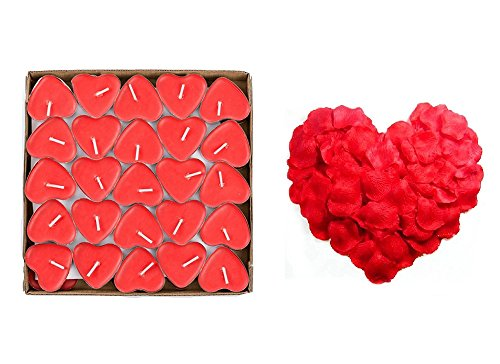 Yalulu 50Pcs Heart Shaped Smokeless Candles, Romantic Love Candle Floating Tealights Candle with 1000pcs Rose Petals for Wedding, Birthday, Party, Festival