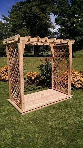 A & L Furniture Co. Western Red Cedar 5' Covington Arbor & Deck- Ships Free in 5-7 Business Days