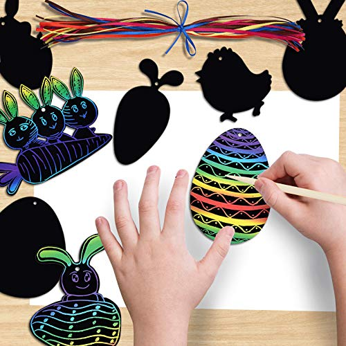 LEEFENGQI [48 Pack] - Easter Rainbow Scratch Card, Easter Eggs Carrots Bunny Scratch Art with 48 Ribbons and 24 Wooden Styluses for Easter Party Favor, Creative Easter Gifts for Kids