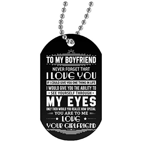 Individualized Boyfriend Dog Tagfrom Girlfriend Necklace for Boy - See My Eyes, You Will See You Are Inside - Great Valentine Gift for Your Men 30 Inch Silver Beaded Chain