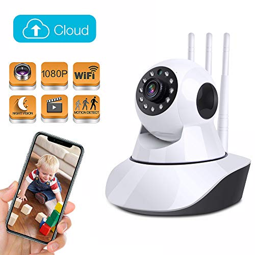 (Wireless Home Security Camera 1080P, Baby Monitor IP Camera Pan/Tilt/Zoom with Cloud Storage, Two Way Audio, Motion Track, Night Vision, Remote Control for Home Surveillance Pet Monitoring)