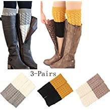 Women 4Pairs Winter Crochet Knit Leg Warmers Girls Boot Cuff Socks Short Leg Warmer