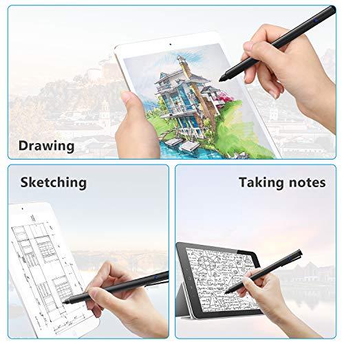 Samsung iPad 2018//iPhone Schwarz Stylus Stift f/ür Tablets: Wiederaufladbar 2 in 1 Kapazitiver Stift mit 1.6mm Feiner Kupferspitze Kompatibel mit Apple iPad Pro BoYata Aktiv Stylus Stift