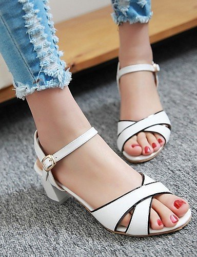 ShangYi Womens Shoes Heel Heels / Peep Toe Sandals / Heels Outdoor / Dress / Casual Blue / Pink / White / Almond White