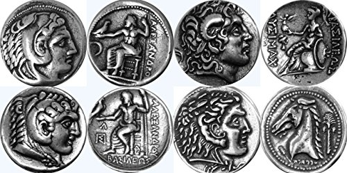 Greek Mythology 4 Coins of Alexander the Great Alex1, 7, 34, 46 -4ALEXS (Great Tetradrachm Silver Coin)