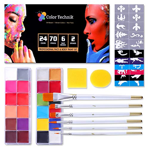 Face and Body Paint Kit By Color Technik 24 Professional Oil Based Flash Colors, 2 Sets of 12 Color Palettes, 6 Paint Brushes 70 Stencils 2 Sponges Non-Toxic For Adults & Kids Halloween Painting Party